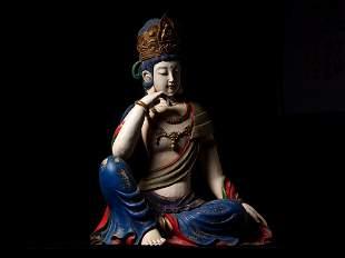 Ming Dynasty Camphor Wood Guanyin Sitting Figure