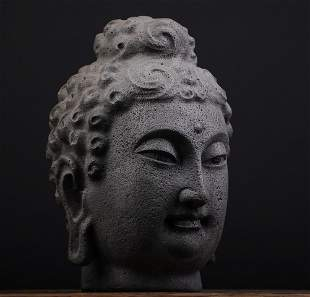 Qing Dynasty Volcanic rock Buddha Head