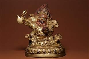 Qing Dynasty Gilt Bronze Vajrapani Figure