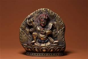 Qing Dynasty Gilt Bronze Mahakala Figure