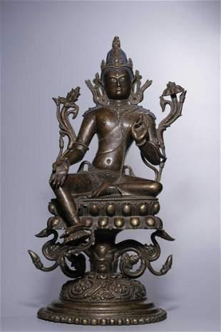 Early Qing Dynasty Bronze Tara Sitting Figure