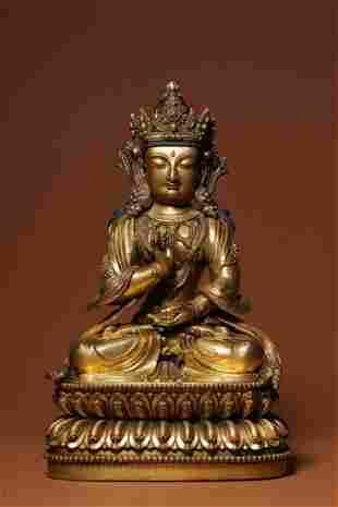 Ming Dynasty Gilt Bronze Guanyin Sitting Figure