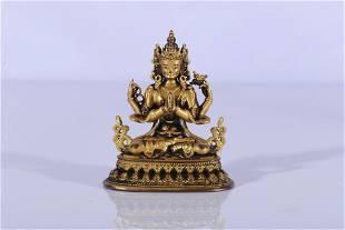 Tibet Gilt Bronze Four-Armed Avalokiteshvara Figure