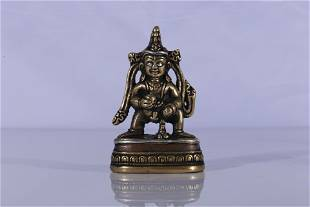 Tibet Copper Alloy Silver Inlaid Black Jambhala Figure