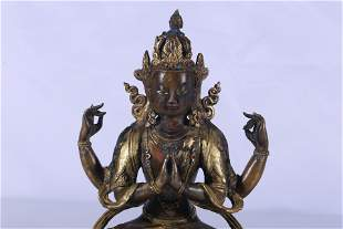 Tibet Two Colors Gilt Bronze Embeded Gems Four-Armed