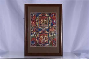 Tibet Oil Paper Mandala Thangka Hang Screen