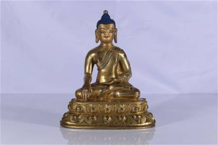 Gilt Bronze Silver Inlaid Shakyamuni Figure