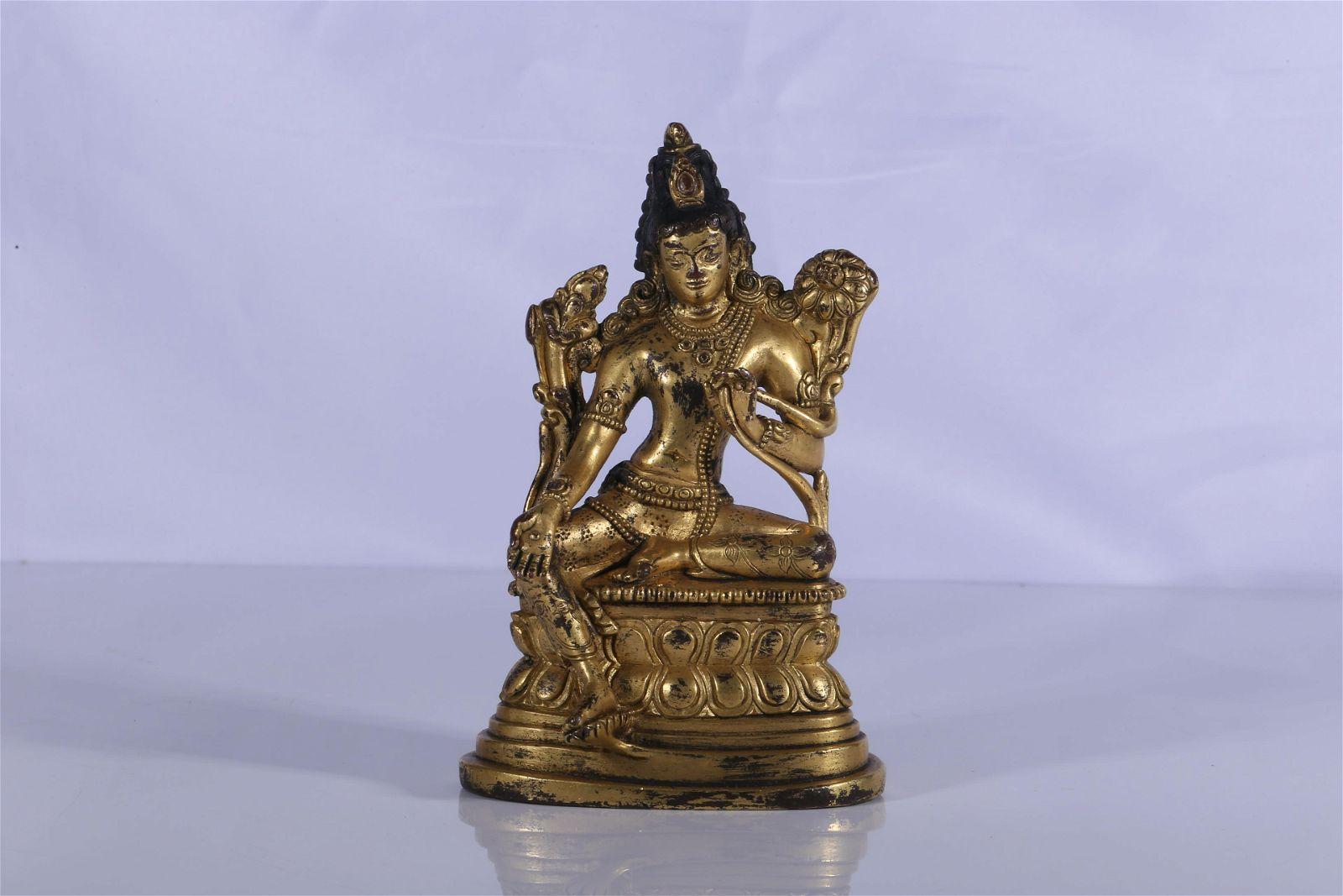 Tibet Pala Style Gilt Bronze Green Tara Figure
