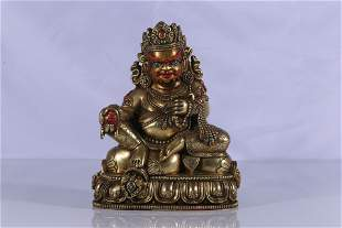 Gilt Bronze Embeded Gems Jambhala Figure