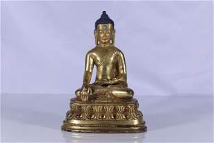 Gilt Bronze Gems Embeded Shakyamuni Figure