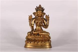 Tibet Palace Large Gilt Bronze White Tara Figure