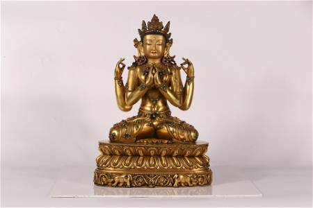 Tibet Palace Style Embeded Gems Large Four-Armed