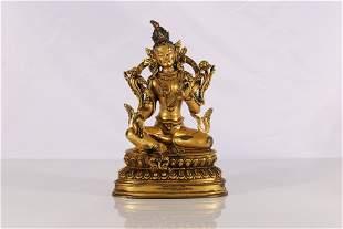 Tibet Gilt Bronze Embeded Gems Green Tara Figure