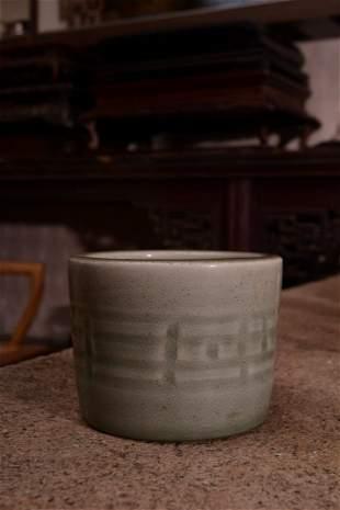 Qing Dynasty - Longquan Celadon Porcelain Brush Pot