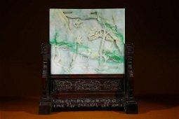 Qing Dynasty - Jadeite 'Crane & deer' 'Landscape'