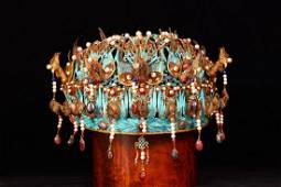 Gilt Silver Wire Gems Embedded Phoenix  Crown