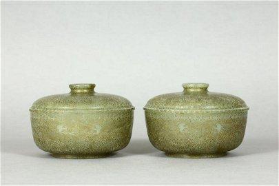 Qing Dynasty -  Hetian Jade 'Dragon' Lidded Bowl Pair