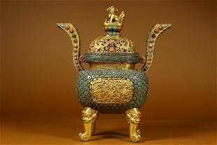 Qing Dynasty Qianlong Period - Gilt Bronze Gems