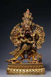 Ming Dynasty - Yongle Period Gift Gilt Bronze Kalacakra