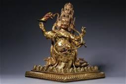 Qing Dynasty - Gilt Bronze Rahula Figure