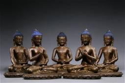 Qing Dynasty - Bronze Silver Inlaid Five Buddha Sitting