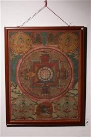 Qing Dynasty - Mineral Pigment Mandala Thangka Hang