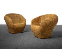Eero Aarnio Style - Wicker Tub Chairs