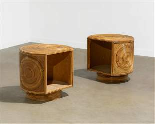 Pencil Rattan Swiveling End Tables
