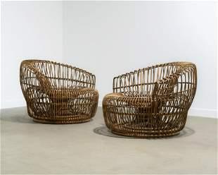 Franco Albini (Attr.) - Rattan Lounge Chairs