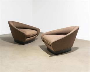 Adrian Pearsall (Attr.) - Triangular Lounge Chairs