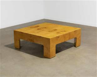 Milo Baughman - Burl Coffee Table