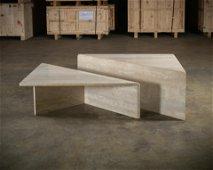 Modernist Travertine Coffee Table