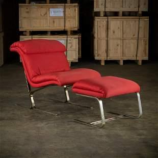 Saporiti Style Chair & Ottoman
