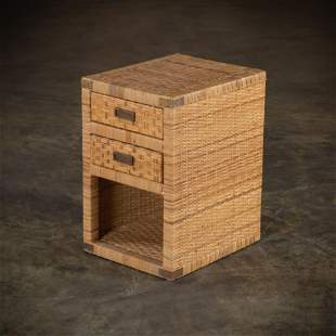 Woven Cane End Table