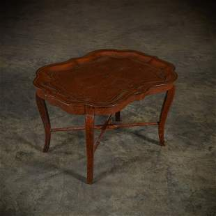 Leather Wrapped Tray Table