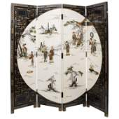 Mid Century Chinese 4 Fold Hand Painted Screen Set With