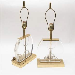 Mid Century Modern  Lucite & Brass Table Lamps, Pair