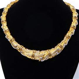 HENRY DUNAY, YELLOW GOLD, PLATINUM AND DIAMOND COLLAR