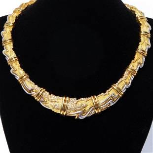 HENRY DUNAY, YELLOW GOLD, PLATINUM AND DIAMOND COLLAR