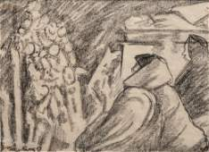 Diego Rivera Signed Charcoal on Paper Drawing