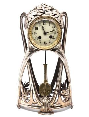 Art Nouveau French Silver Plated Jappy Freres Clock