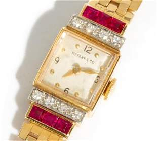 14K Gold Tiffany Diamond and Ruby Art Deco Ladies Watch