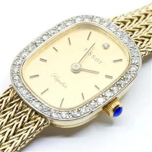 "Tissot 14kt gold and diamond Ladies ""Saphir"" watch"