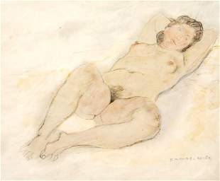 Raphael Soyer Reclining nude Pencil and watercolor on