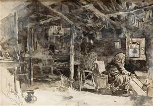 Joseph Pennell Watercolor Interior of a Weaver