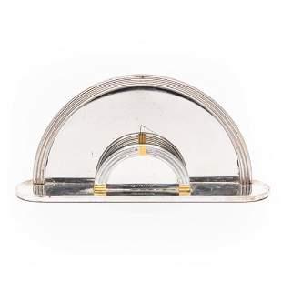 Christofle Signed Art Deco Silver Plated Letter Holder