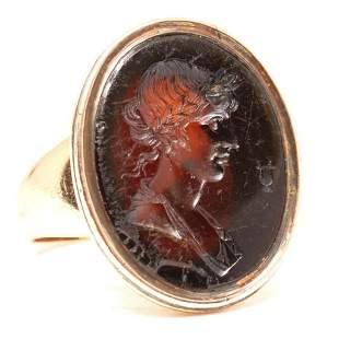 Victorian Gold and Garnet Intaglio signet Ring Circa