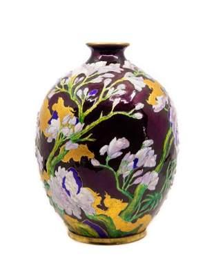 """Camille Fauré exceptional 12"""" enamel on copper vase"""