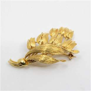 GIA Vintage Tiffany & Co 18K Floral Brooch