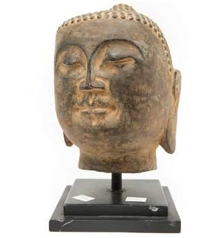 19th Century Southeast Asia Stone Carving Buddha Head